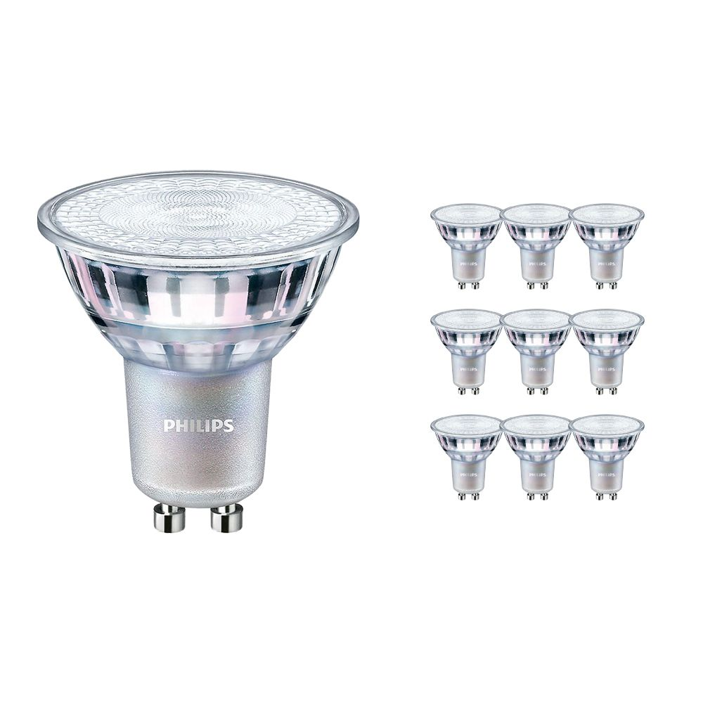 Multipack 10x Philips LEDspot MV Value GU10 3.7W 927 36D (MASTER) | Best Colour Rendering - Very Warm White - Dimmable - Replaces 35W