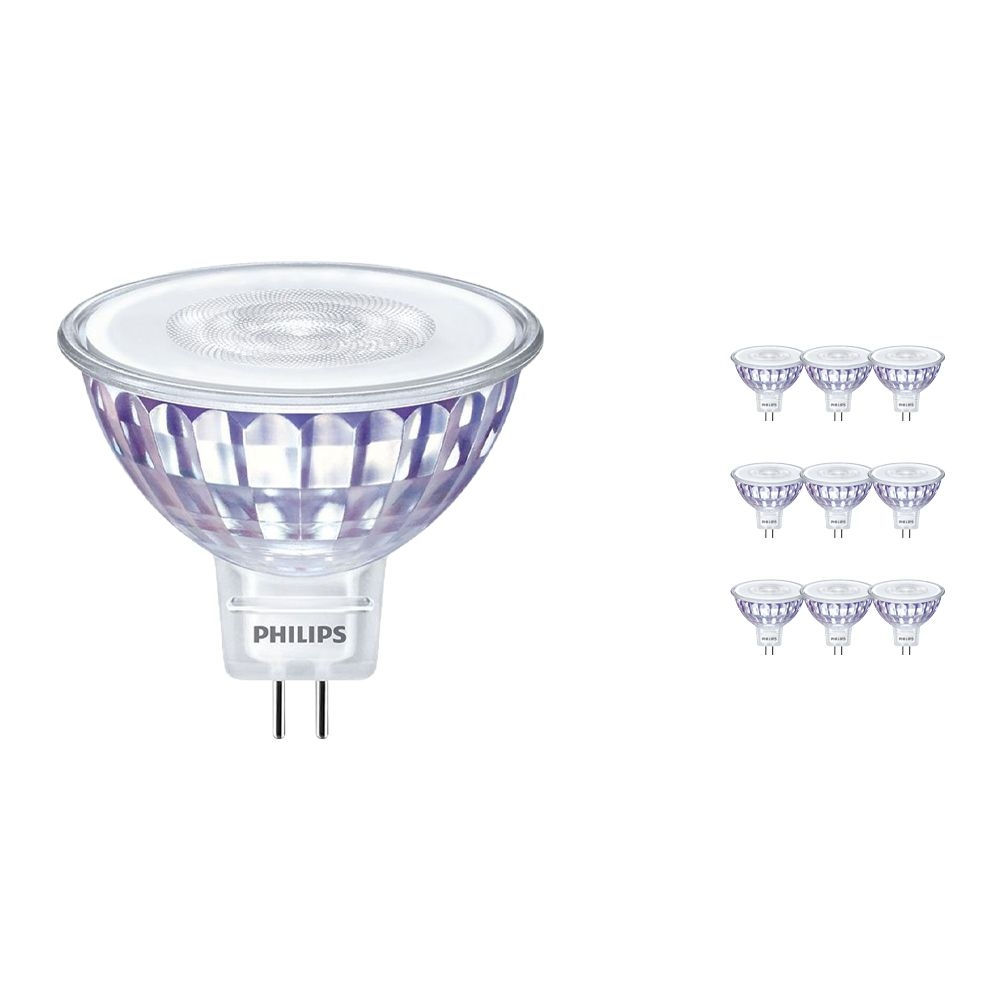 Multipack 10x Philips LEDspot LV Value GU5.3 MR16 5.5W 827 60D (MASTER) | Extra Warm White - Dimmable - Replaces 35W
