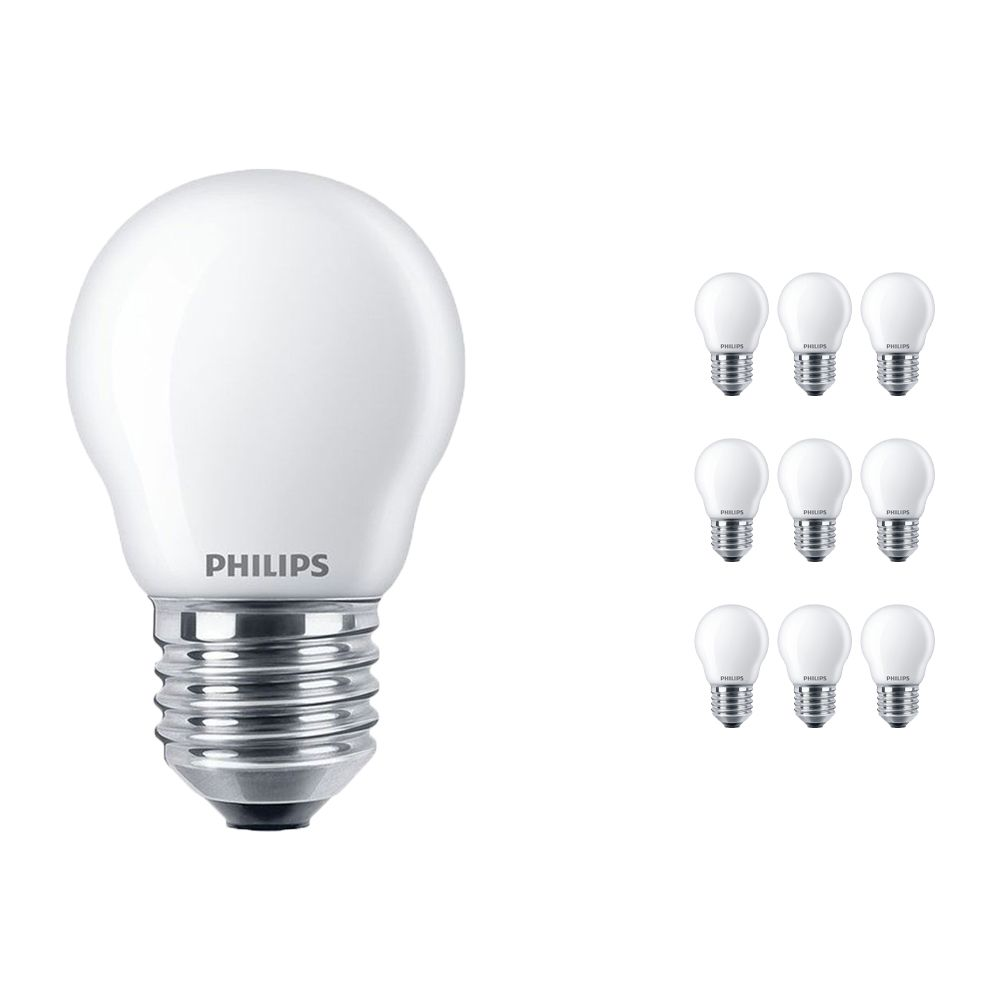 Multipack 10x Philips Classic LEDlustre E27 P45 2.2W 827 Frosted | Replaces 25W