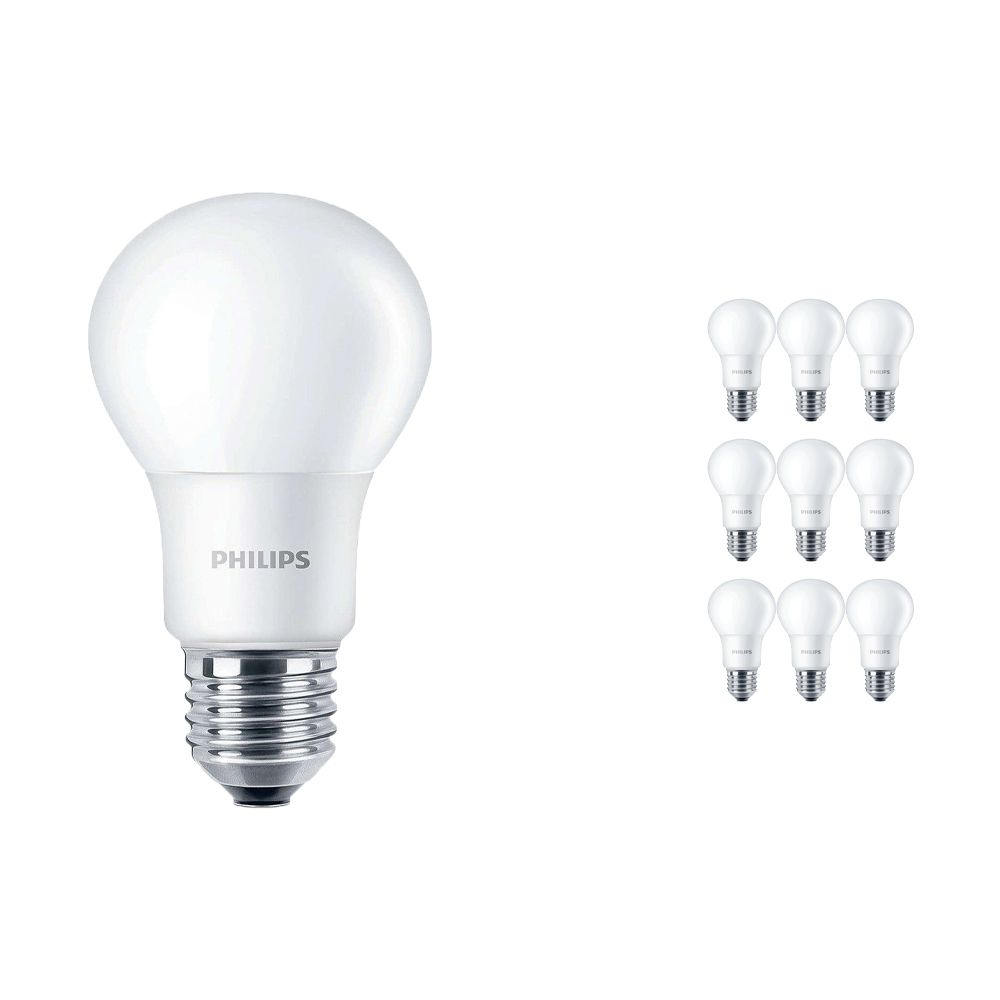 Multipack 10x Philips CorePro LEDbulb E27 A60 7.5W 840 A60 Frosted   Replaces 60W