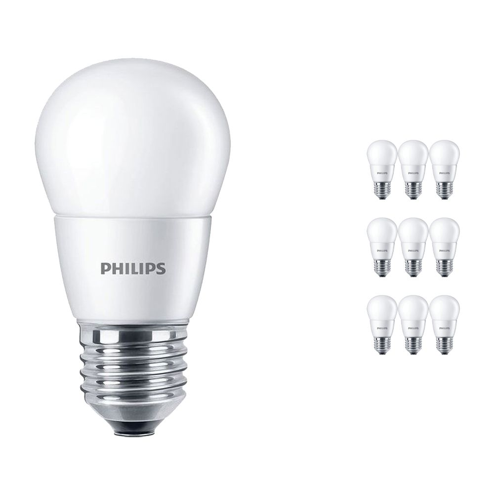 Multipack 10x Philips CorePro LEDlustre E27 P48 7W 827 Frosted   Replaces 60W