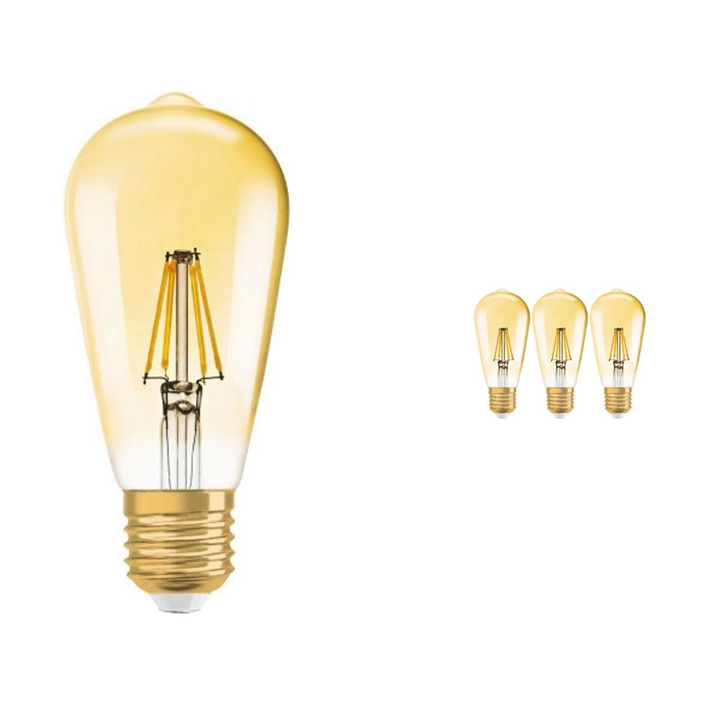 Multipack 4x Osram Vintage 1906 LED E27 Edison 6.5W 825 Gold   Dimmable - Replaces 50W
