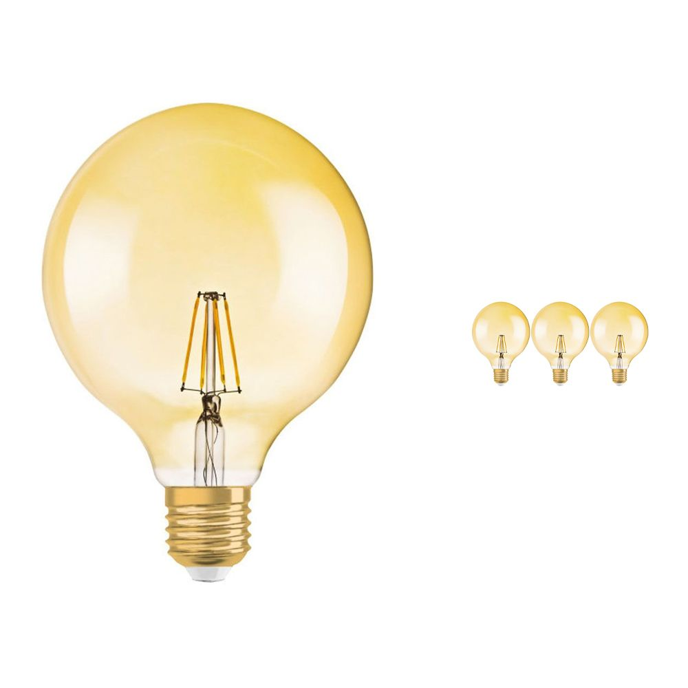 Multipack 4x Osram Vintage 1906 LED E27 Globe 4W 824 Gold   Replaces 35W