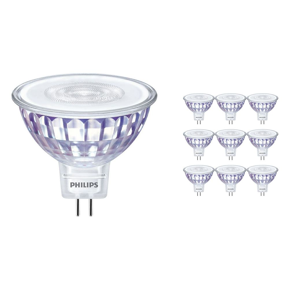 Multipack 10x Philips LEDspot LV Value GU5.3 MR16 5.5W 840 60D (MASTER) | Cool White - Dimmable - Replaces 35W