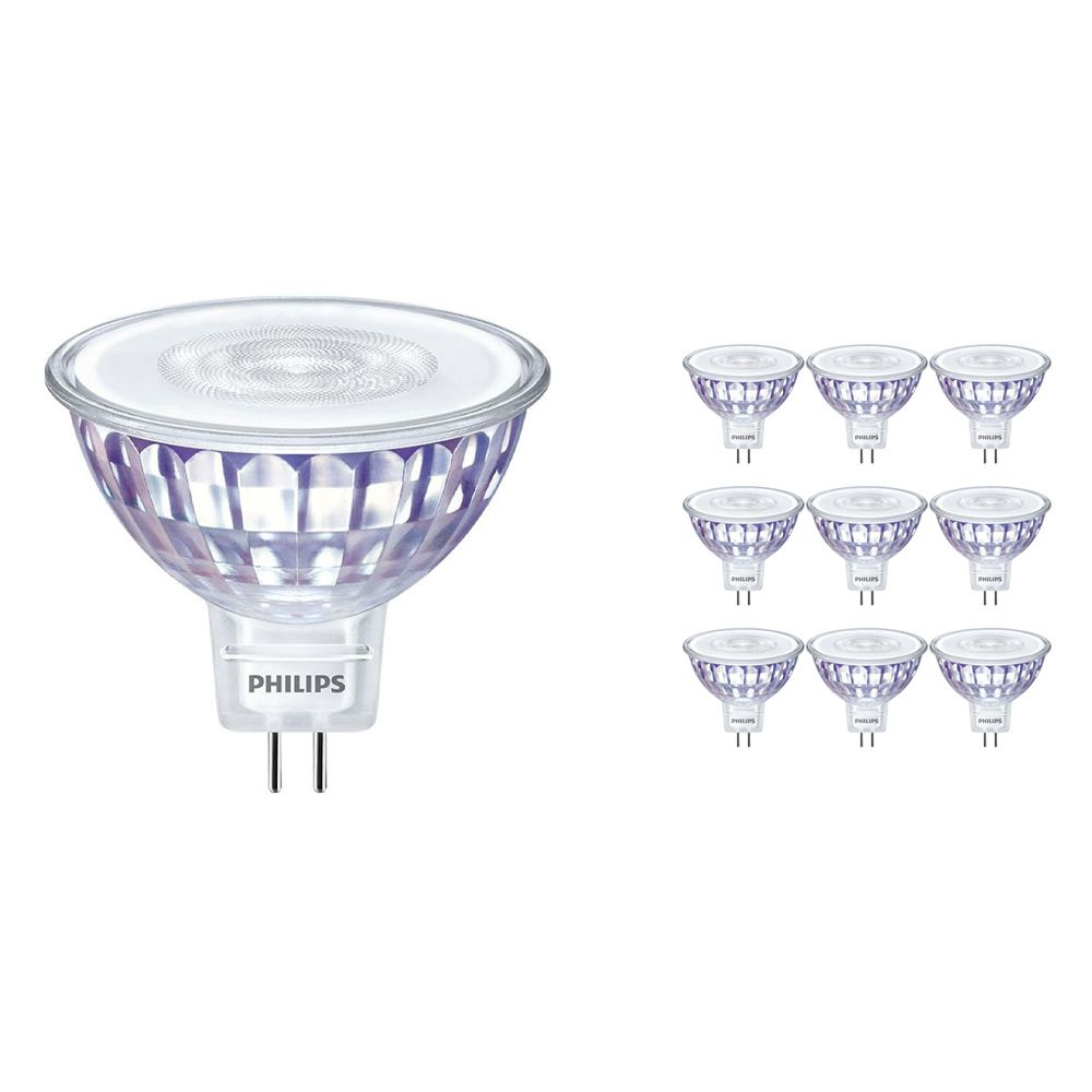 Multipack 10x Philips LEDspot LV Value GU5.3 MR16 5.5W 840 36D (MASTER) | Cool White - Dimmable - Replaces 35W