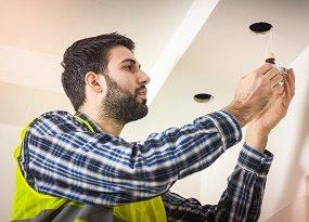 Installation of LED ceiling spotlights