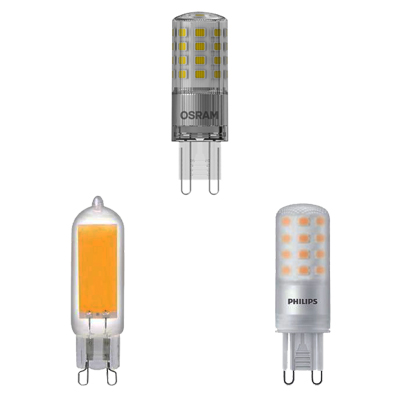 three G9 LEDs