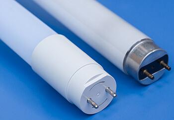 LED tube next to fluorescent tube