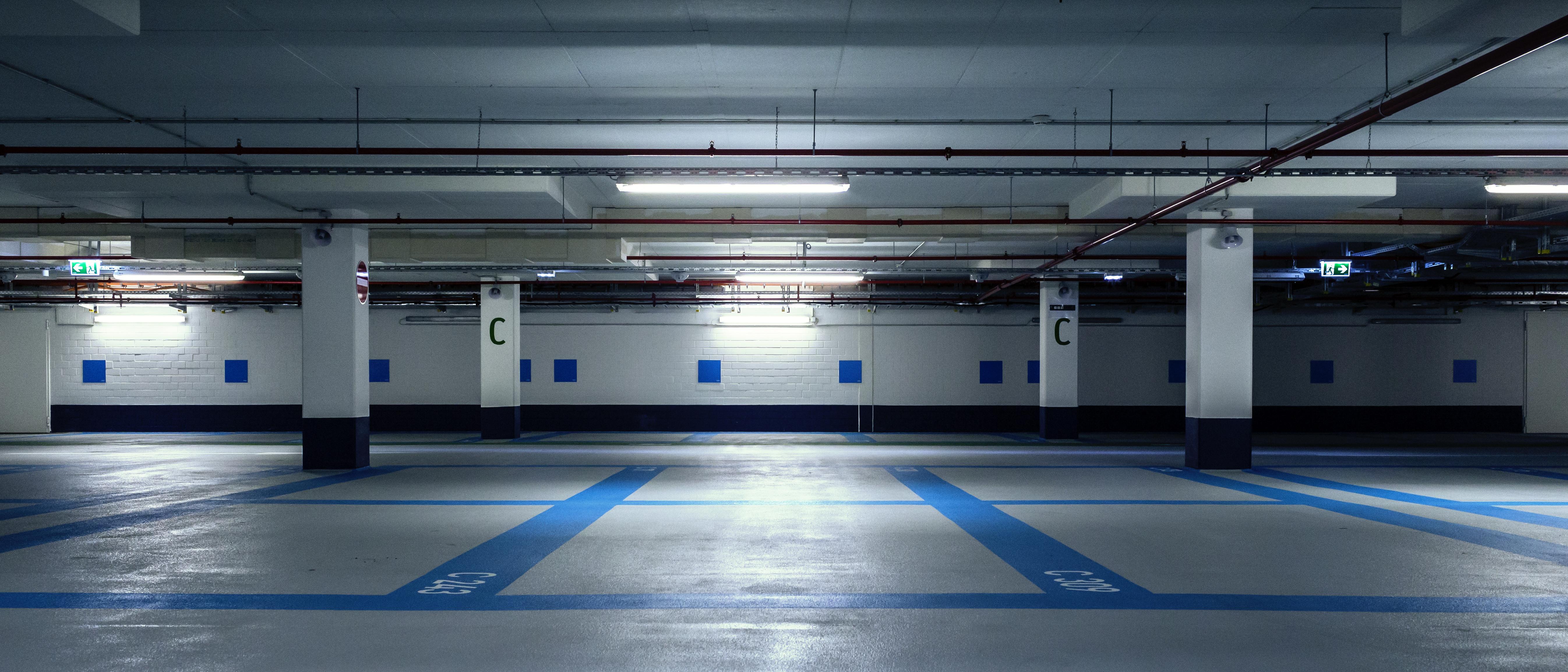 LED sensor lighting parking garage