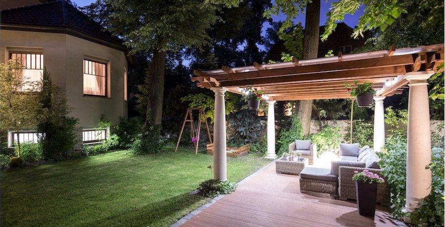 LED sensor lighting in the garden